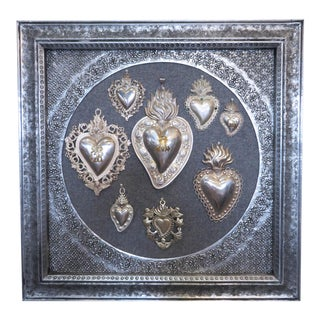 Framed Eight Piece Spanish Antique Silver Sacred Heart Ex-Voto Collection, Framed For Sale
