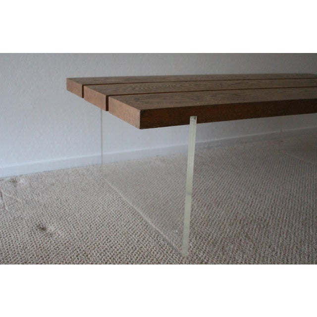 Brown Mid-Century Wood & Acrylic Coffee Table For Sale - Image 8 of 10