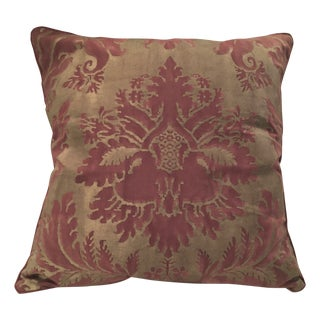 "Fortuny ""Glicine"" Red & Gold Pillow For Sale"