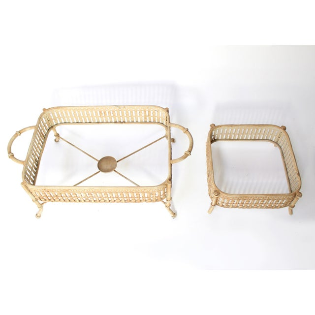 Pair of sturdy steel chafing dish servers in a faux bamboo motif and painted tan with a brown wash to highlight the...