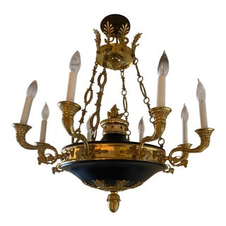 Large Antique Late 19th Century French Empire 8 Arm Dore Bronze With Stars Chandelier For Sale