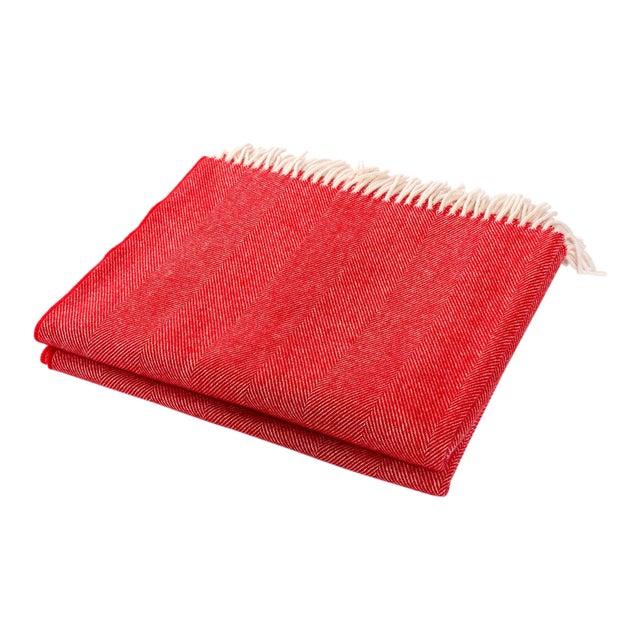 Modern Merino Wool Collection Crimson Throw For Sale