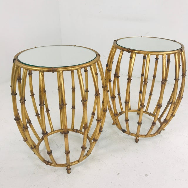 Pair of Gold Faux Bamboo Drum Side Tables With Mirrored Tops For Sale - Image 11 of 12