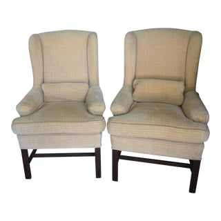Linen Wing Back Chairs George III - A Pair