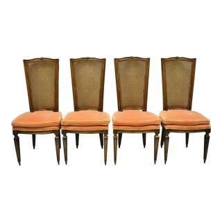 Karges French Louis XVI Style Walnut Tall Cane Back Dining Side Chairs - Set of 4 For Sale