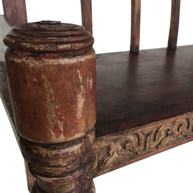 Late 19th Century Hand-Carved Antique Bench | Ottoman-Era Settee For Sale - Image 5 of 6