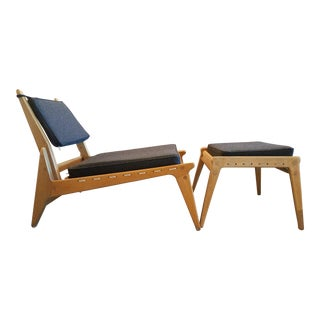 "Swedish Fumed Oak ""Hunting Chair"" With Ottoman by Uno & Osten Kristiansson, C. 1950's"