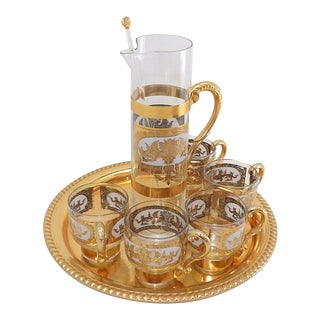 Mid Century Modern Bar Cart Prado Culver Cocktail Glass Set - Set of 8 For Sale