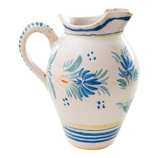 Large Antique French Quimper Pitcher For Sale