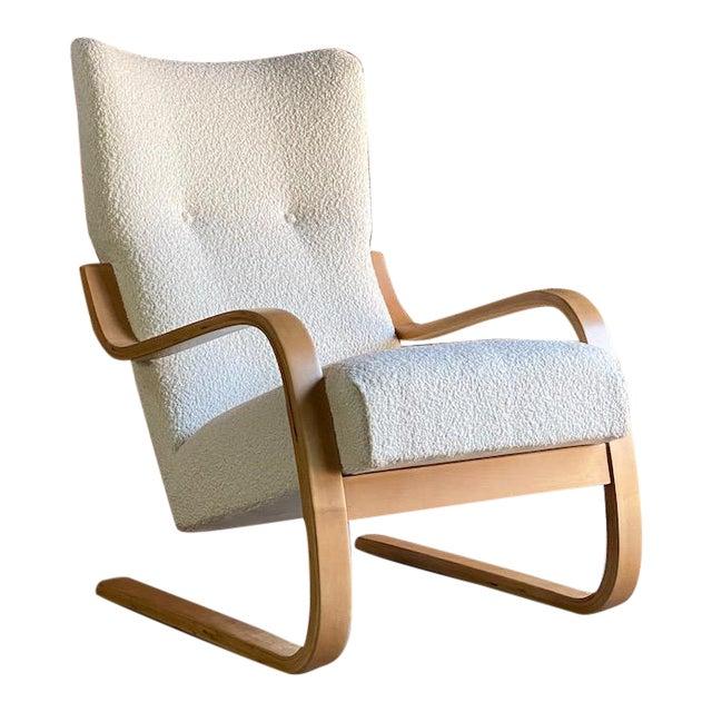 1940s Vintage Alvar Aalto Model 401 Cantilever Lounge Chair in Bouclé by Finmar For Sale