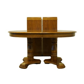 "20th Century Traditional Thomasville Furniture Villager Collection 90"" Oval Double Pedestal Dining Table For Sale"
