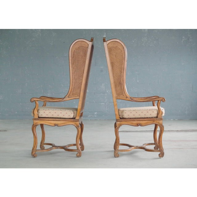 Pair of 1920s Hollywood Regency Cane Wingback Chairs For Sale In New York - Image 6 of 10