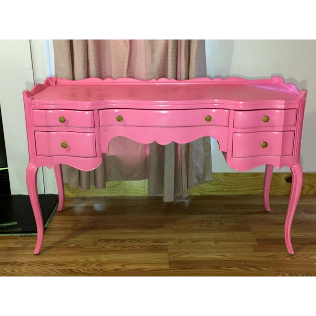 Suga Lane Hollywood Regency French Hot Pink Gold Desk - Image 2 of 13