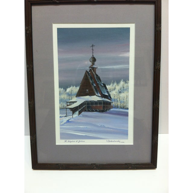 """This is a Framed and Matted Original Painting that is titled """"St Nicholas at Grotove"""" by V. Drobashevsky. The Painting is..."""