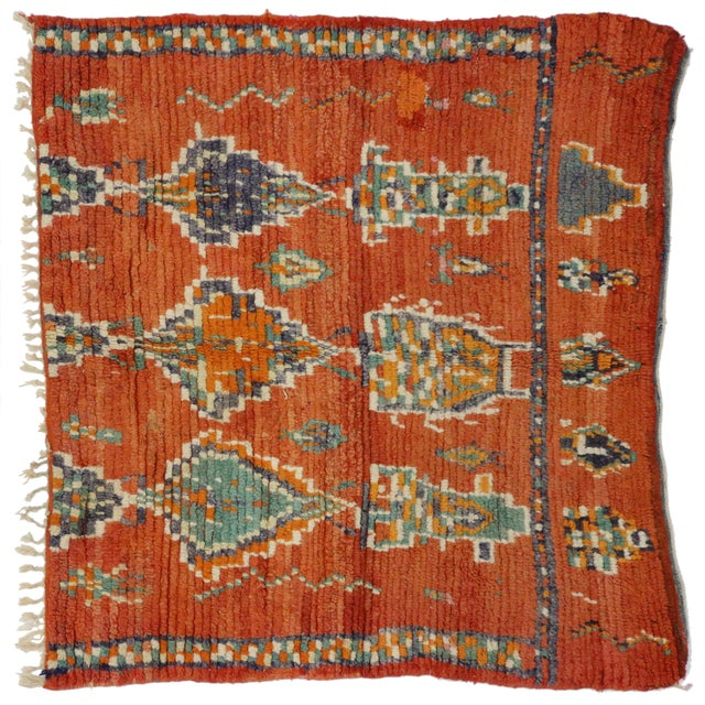 Berber Tribes of Morocco Vintage Berber Moroccan Rug - 04'11 X 05'04 For Sale - Image 4 of 5