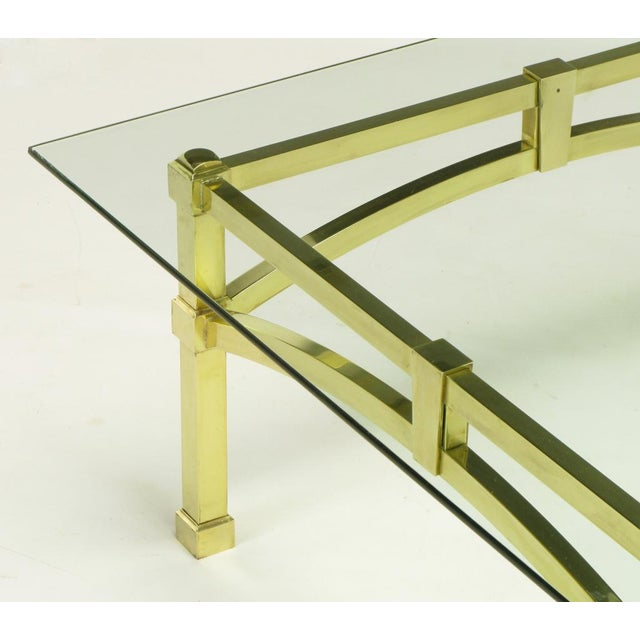 Italian Postmodern Architectural Brass & Glass Coffee Table - Image 7 of 10