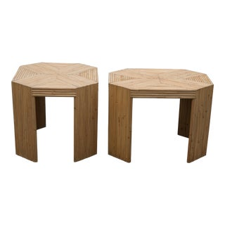 1970s Palm Regency Stacked Rattan Reed Bamboo Side Tables - a Pair
