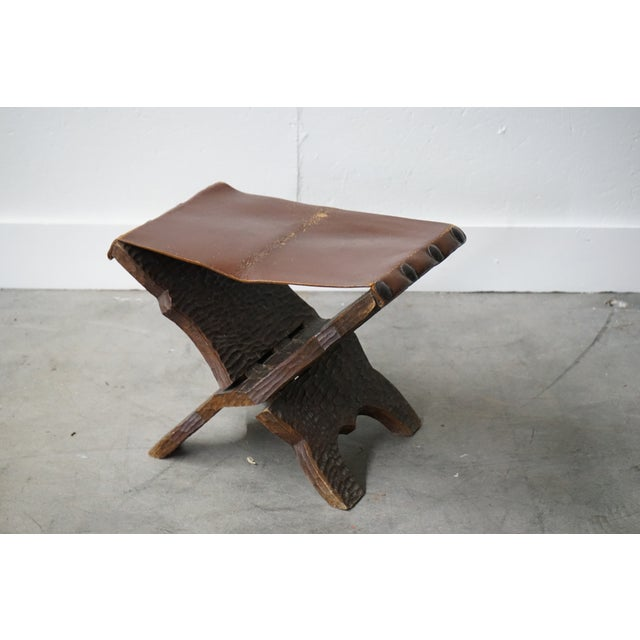 1960s Vintage Carved Wood and Leather Ottoman For Sale - Image 5 of 6
