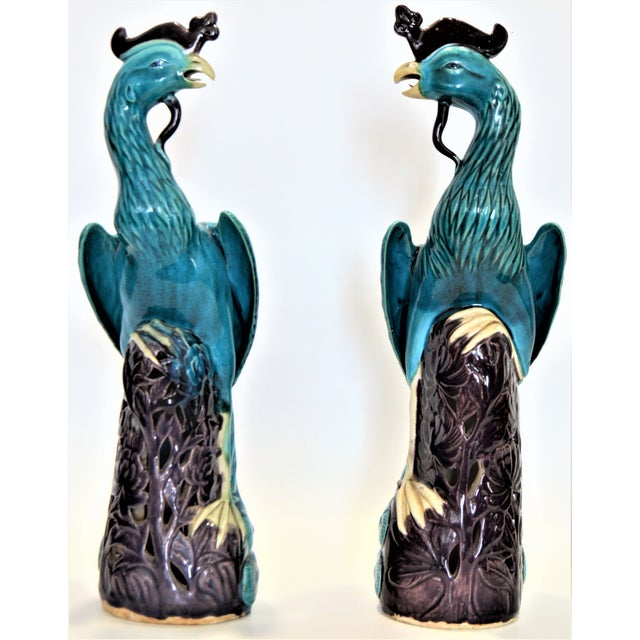 Extra Large Antique 1940s Chinese Porcelain Phoenix Bird Figurines - a Pair-Oriental Sculpture Asian Mid Century Modern Palm Beach Tropical Parrots For Sale - Image 13 of 13