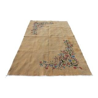 Turkish Vintage Handmade Floral Beige Anatolian Rug 5.4 X 8.7 Ft For Sale
