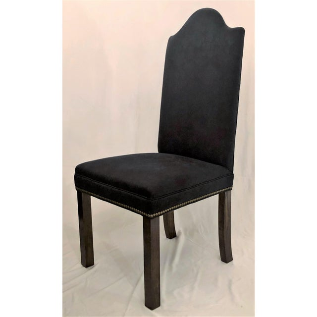 Set of 12 Mahogany and Dark Blue Upholstered Dining Chairs.