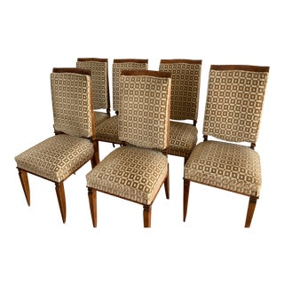 1930s French Art Deco Chestnut Wood & Silk Dining Chairs - Set of 6 For Sale