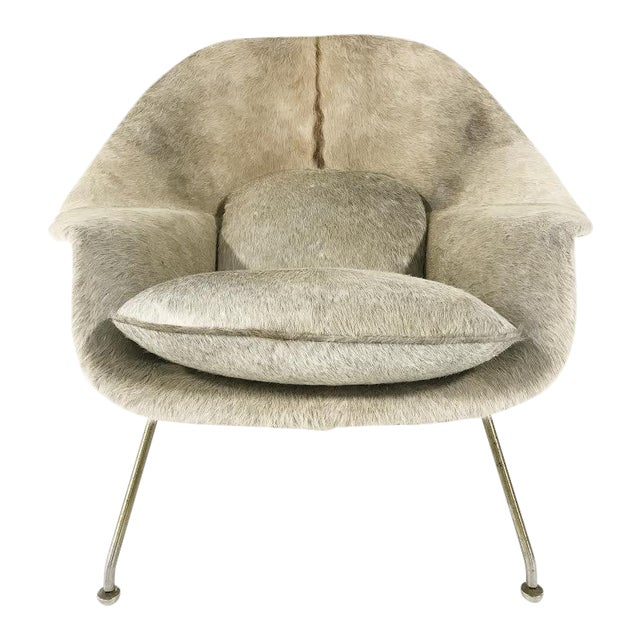 Vintage Eero Saarinen Womb Chair Reupholstered in Brazilian Cowhide For Sale