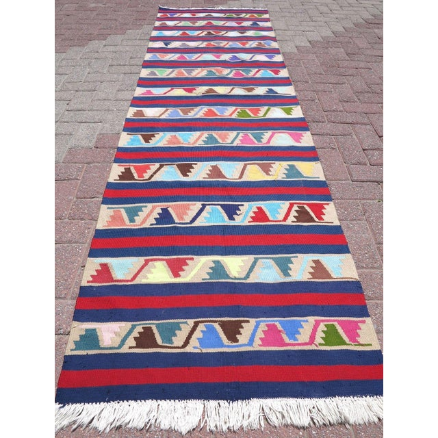 Vintage Turkish Kilim Runner Rug For Sale - Image 5 of 10