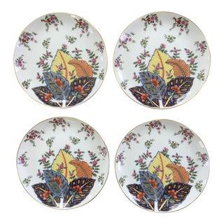 Vintage Seymour Mann Tobacco Leaf Pattern Porcelain Plates - Set of 4 For Sale