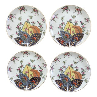 Vintage Tobacco Leaf Pattern Porcelain Plates Made in Japan - Set of 4 For Sale