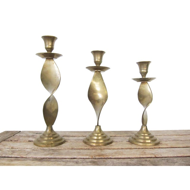 Brass Vintage Brass Candlesticks -Set of 3 For Sale - Image 8 of 10