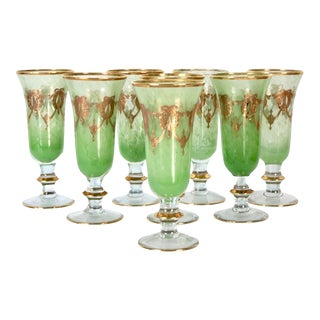 1920s French Gilded Art Glass Flutes S/8 For Sale