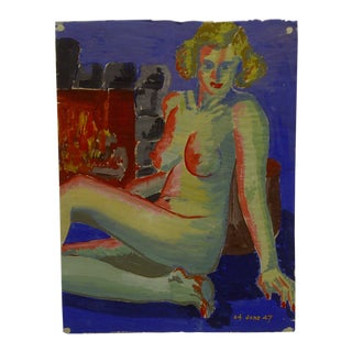 "1947 Mid-Century Modern Original Painting on Paper, ""Red Lips and Breasts"" by Tom Sturges Jr"