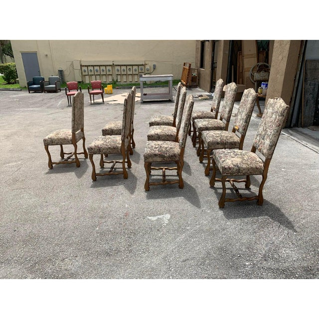 Wood 1900s Vintage French Louis XIII Style Os De Mouton Dining Chairs- Set of 10 For Sale - Image 7 of 13