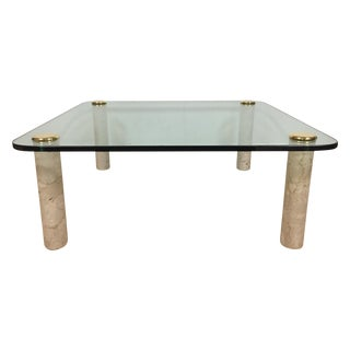 Pace Glass and Travertine Cocktail Table