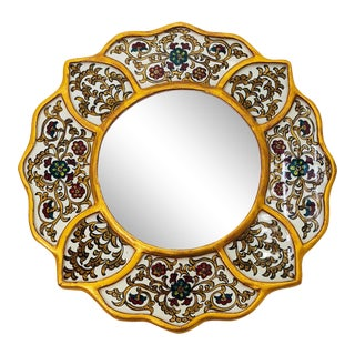 Vintage Painted Round Mirror For Sale