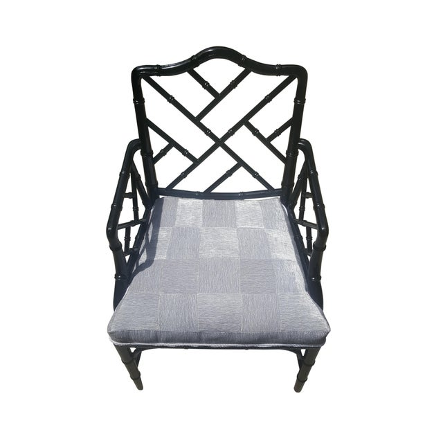 Faux Bamboo Chinese Chippendale Black Lacquered Armchair For Sale In Portland, ME - Image 6 of 6