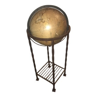 1940s Round McNally Terrestrial Floor Globe Floor Mount With Stand For Sale