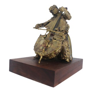 "S. Mannheim Brutalist Brass ""Woman and Cello"" Sculpture For Sale"