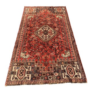 1940s Vintage Persian Qasghi Rug - 5′1″ × 7′10″ For Sale