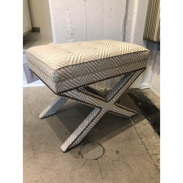 Transitional Scalamandre Upholstered X Bench For Sale - Image 13 of 13