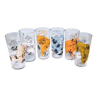 Mid Century Vintage Federal Bar Glasses- Set of 6 For Sale