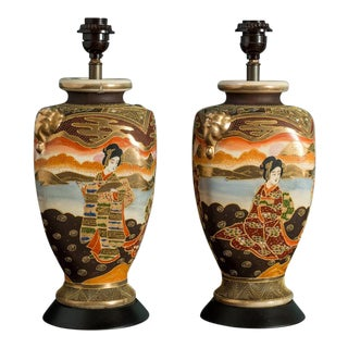 Pair of Japanese Satsuma Table Lamps For Sale
