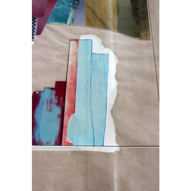 1970s Mid-Century Modern Rauschenberg Signed Abstract Print Dated 1970s Numbered For Sale - Image 5 of 7