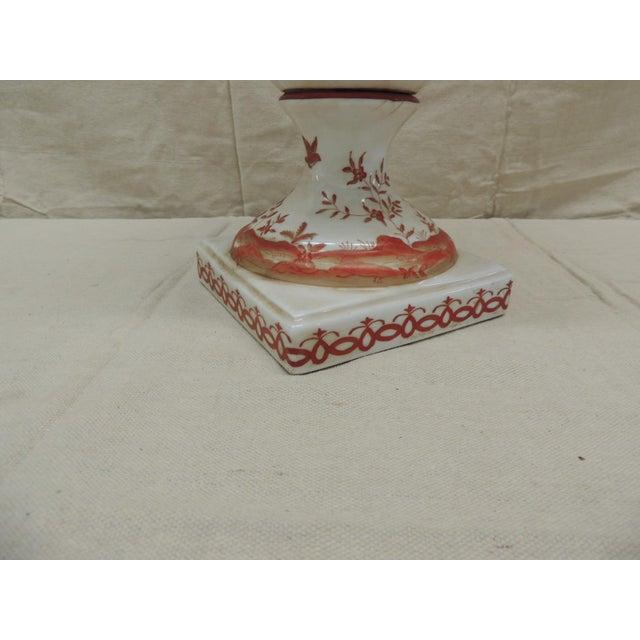 Orange and White Ceramic Urn For Sale - Image 4 of 6