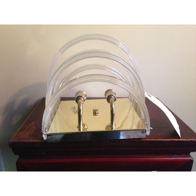 1970s Lucite and Brass Sconces - A Pair For Sale In New York - Image 6 of 6