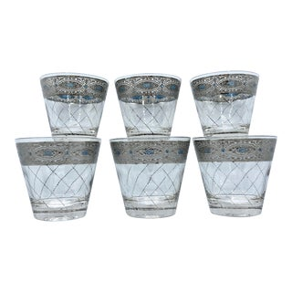 1950s Mid-Century Platinum and Blue Whisky Cocktail Glasses - Set of 6 For Sale