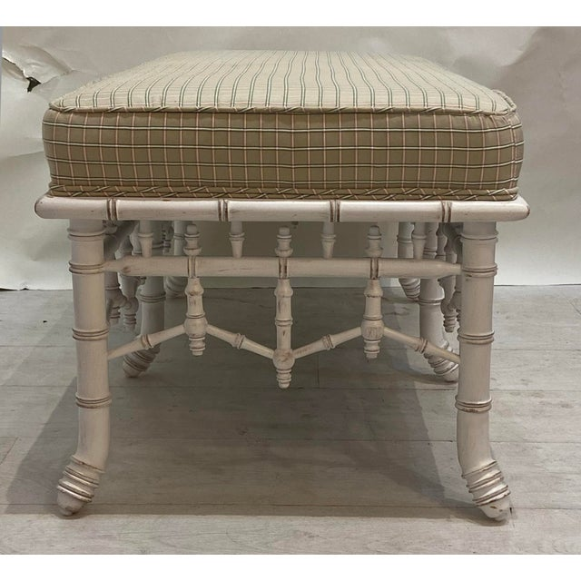 1990s 1990s Vintage Faux Bamboo Wooden Bench With Upholstered Top For Sale - Image 5 of 6