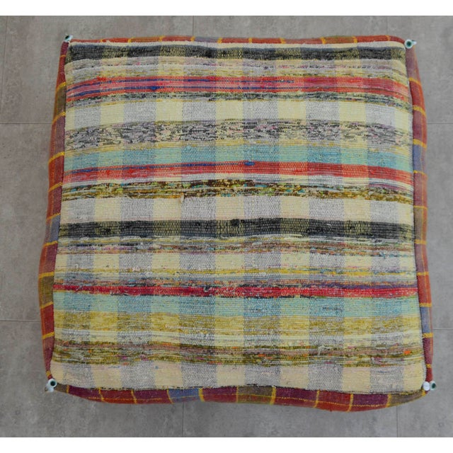 Turkish Hand Woven Kilim Floor Pillow - Image 6 of 9