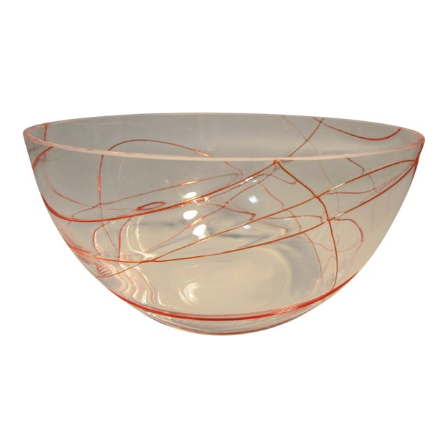 Murano Studio Art Glass Ruby Red Threaded Glass Bowl For Sale